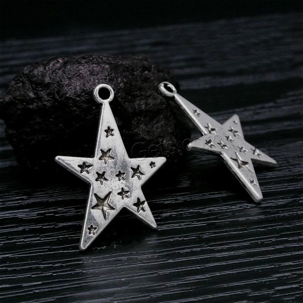 Zinc alloy star pendant antique silver color plated lead