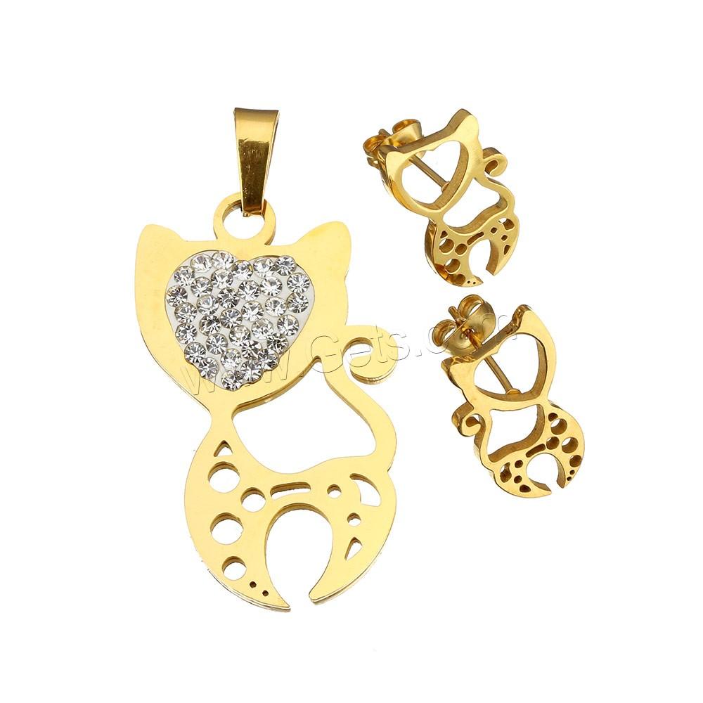 bijoux strass en acier inoxydable set pendentif boucle d 39 oreille avec argile chat placage de. Black Bedroom Furniture Sets. Home Design Ideas