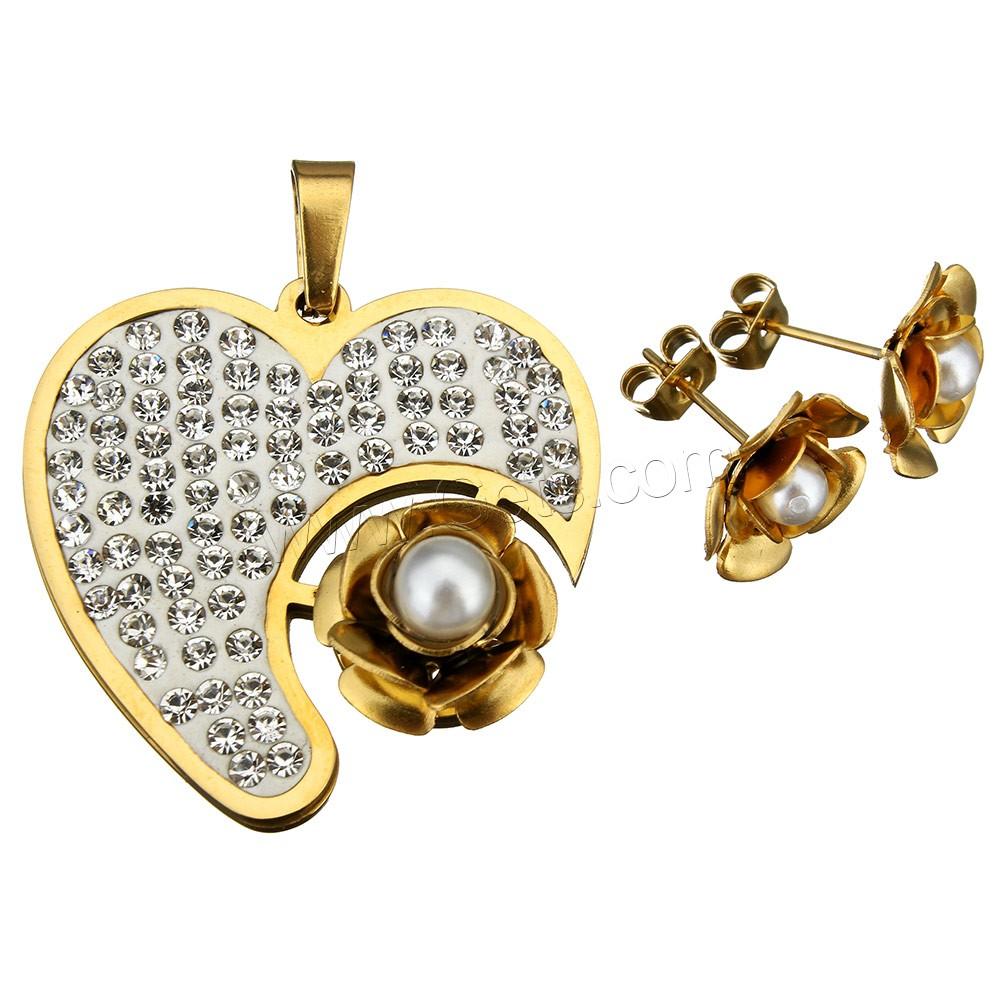 bijoux strass en acier inoxydable set pendentif boucle d 39 oreille avec argile perle d 39 eau douce. Black Bedroom Furniture Sets. Home Design Ideas