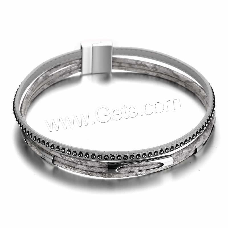 Plutonium Platinum: PU Leather Cord Bracelets With Zinc Alloy Platinum Color