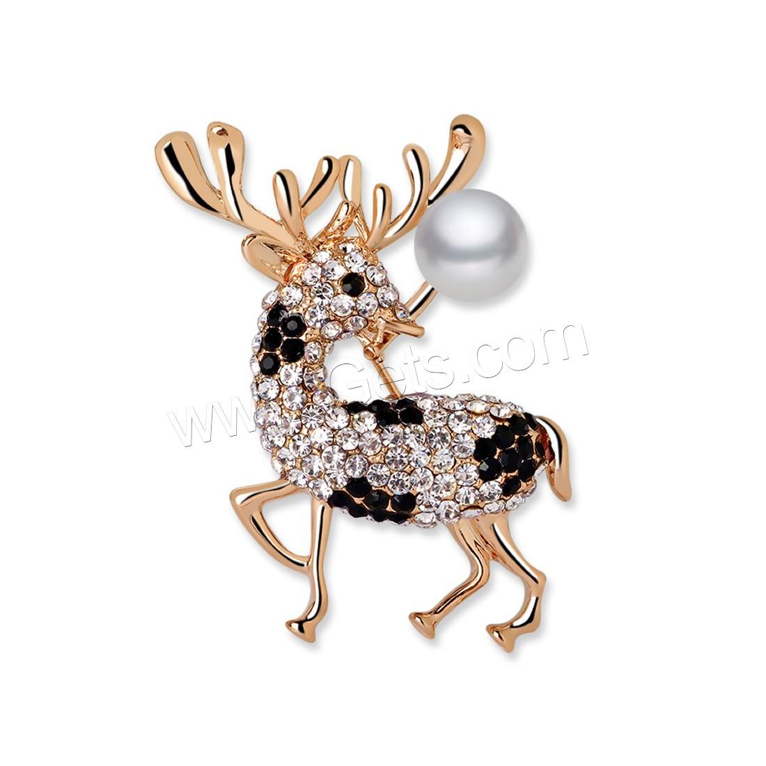 Broche Joyería Navidad, aleación de zinc, con Perlas de vidrio, Reno ...