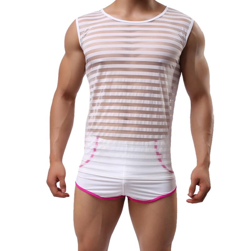5e116d1a69 Gauze   Spandex Men Body Shaper Vest   transparent with Nylon stripe ...