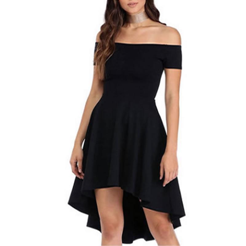 ea9adaddbd7d Polyester One-piece Dress   short front long back   off shoulder ...