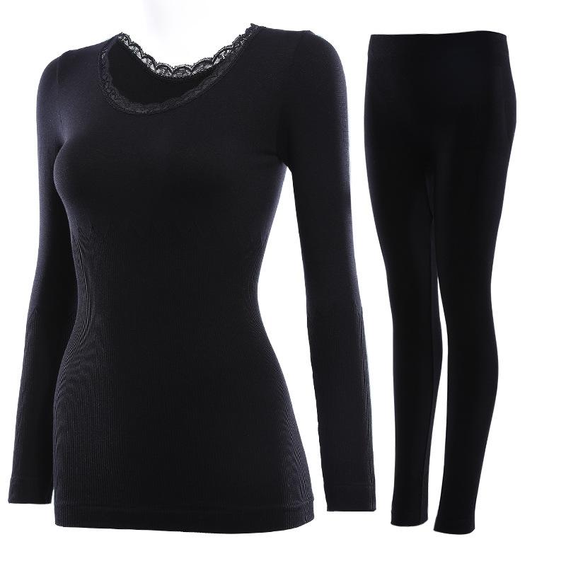 affba8a9652 Nylon   Lace   Cotton Women Thermal Underwear Sets flexible ...