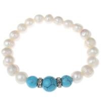 Damen Purple Kristall Armband Bracelet Biker Perlenarmband Kugelarmband