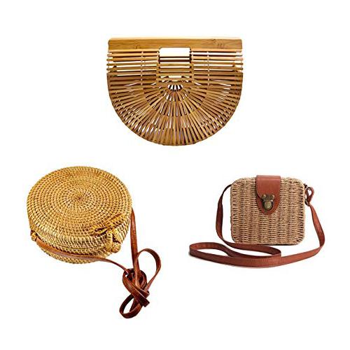 Bolsos hechos a mano de las mujeres: Bolso de bambú y bolso de Ranttan y bolso de la paja